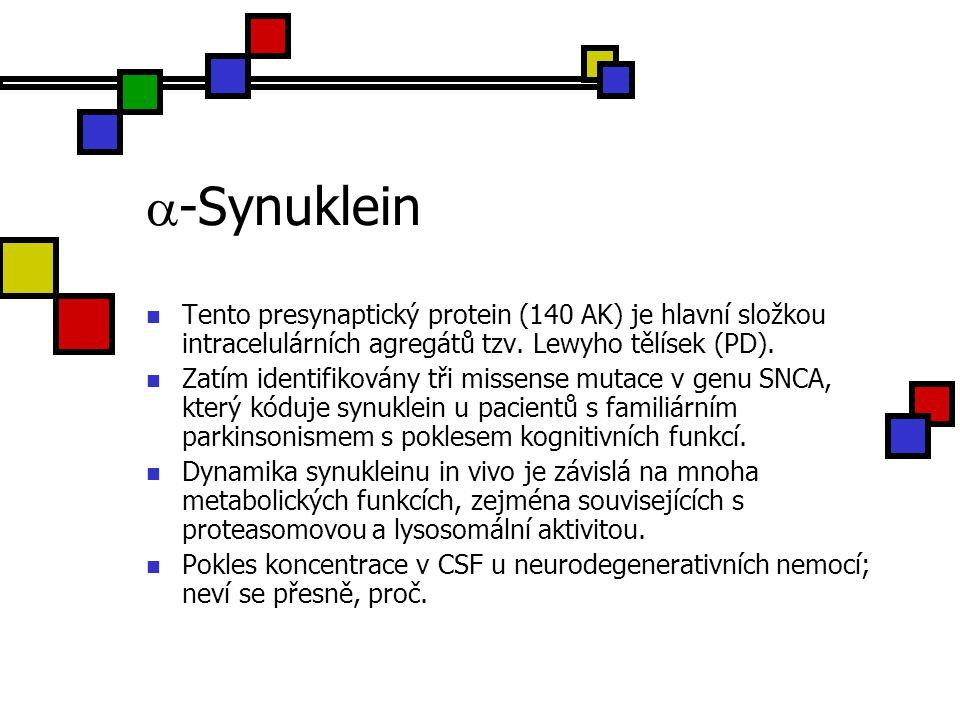 -Synuklein Tento presynaptický protein (140 AK) je hlavní složkou intracelulárních agregátů tzv. Lewyho tělísek (PD).