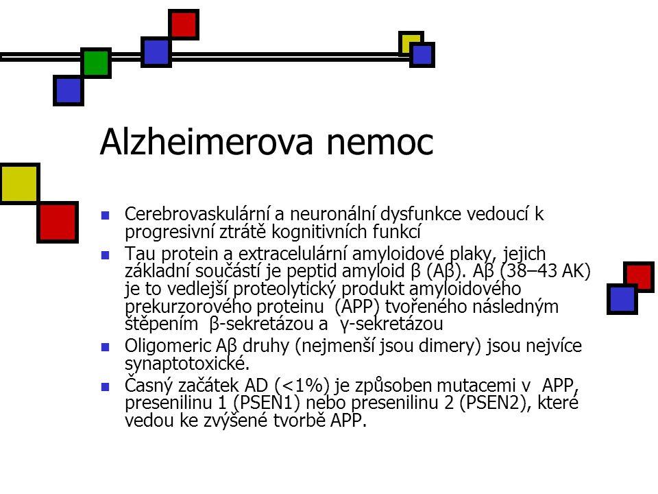 Alzheimerova nemoc Cerebrovaskulární a neuronální dysfunkce vedoucí k progresivní ztrátě kognitivních funkcí.