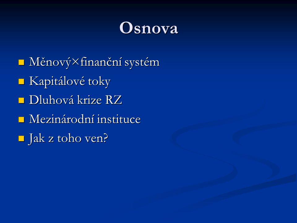 Osnova Měnový×finanční systém Kapitálové toky Dluhová krize RZ