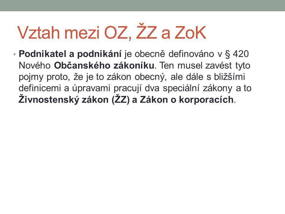 Vztah mezi OZ, ŽZ a ZoK