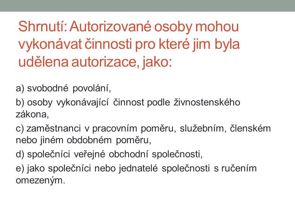 Shrnutí: Autorizované osoby mohou vykonávat činnosti pro které jim byla udělena autorizace, jako: