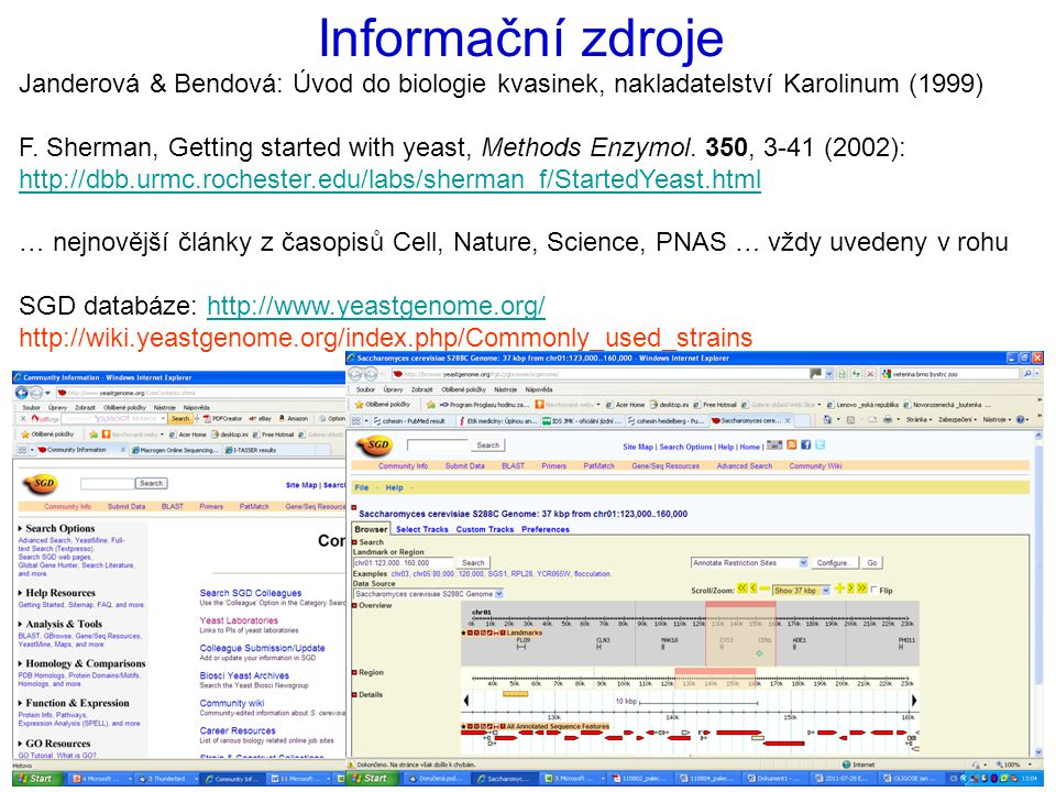 Informační zdroje Janderová & Bendová: Úvod do biologie kvasinek, nakladatelství Karolinum (1999)