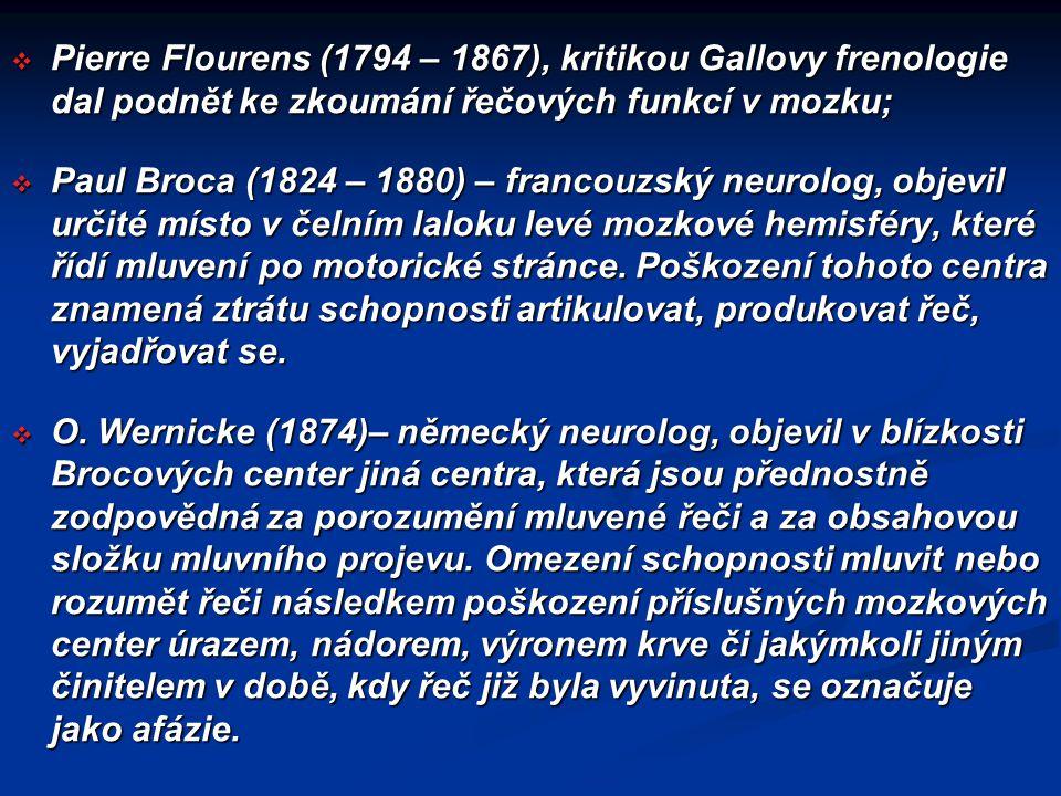 Pierre Flourens (1794 – 1867), kritikou Gallovy frenologie dal podnět ke zkoumání řečových funkcí v mozku;