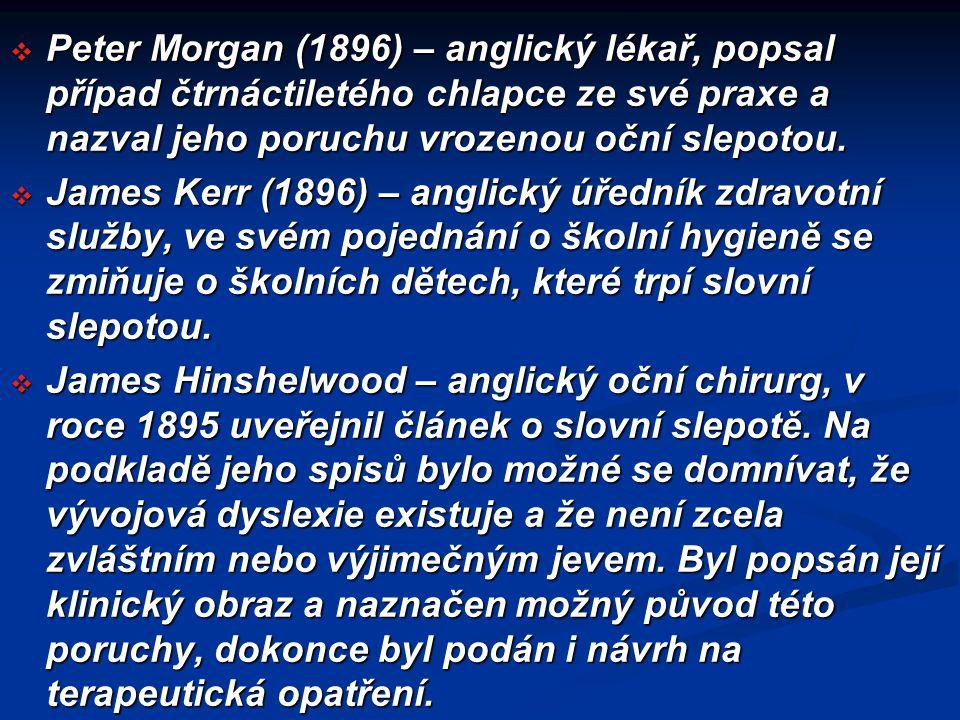 Peter Morgan (1896) – anglický lékař, popsal případ čtrnáctiletého chlapce ze své praxe a nazval jeho poruchu vrozenou oční slepotou.