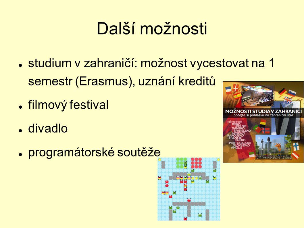 Další možnosti studium v zahraničí: možnost vycestovat na 1 semestr (Erasmus), uznání kreditů. filmový festival.