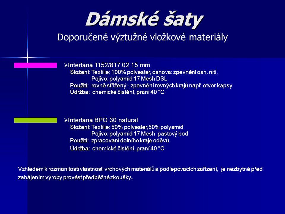 Doporučené výztužné vložkové materiály