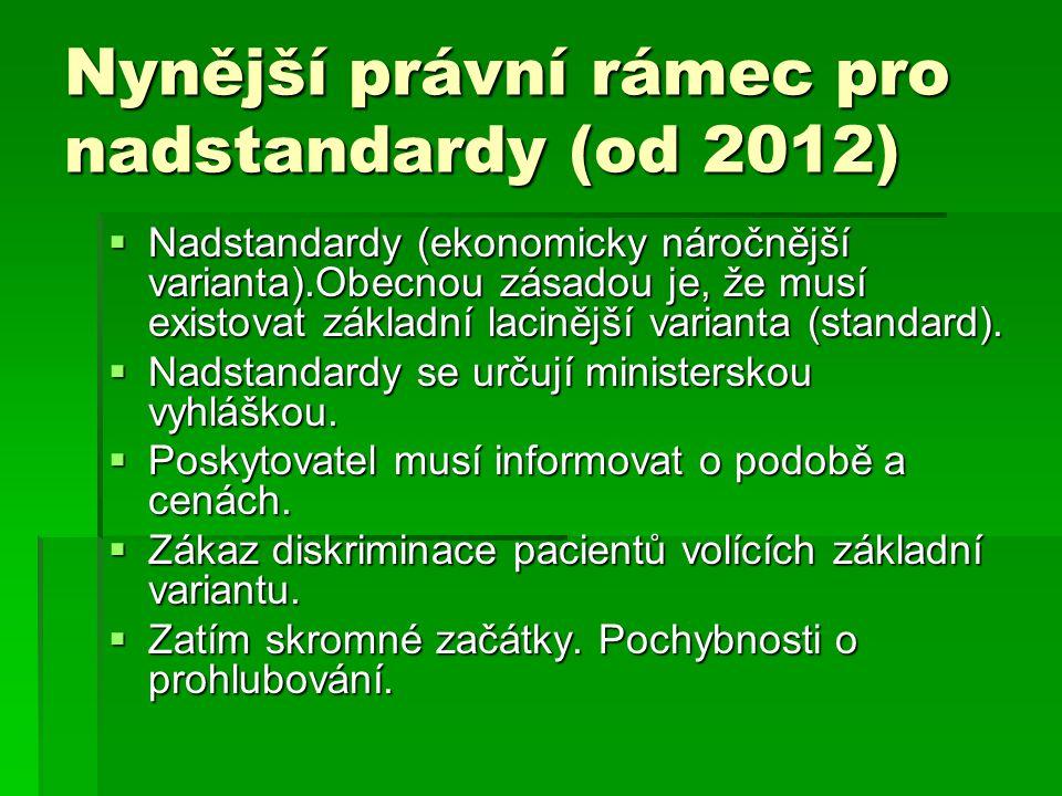 Nynější právní rámec pro nadstandardy (od 2012)