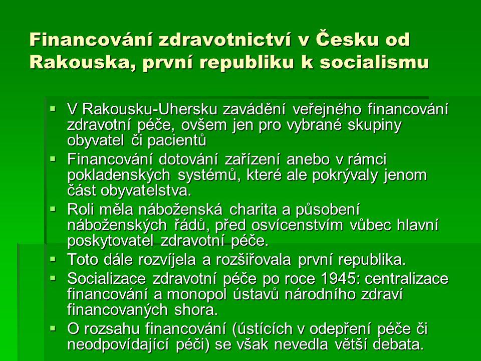 Financování zdravotnictví v Česku od Rakouska, první republiku k socialismu