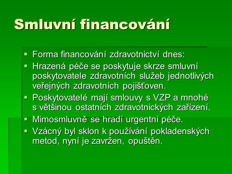 Smluvní financování Forma financování zdravotnictví dnes: