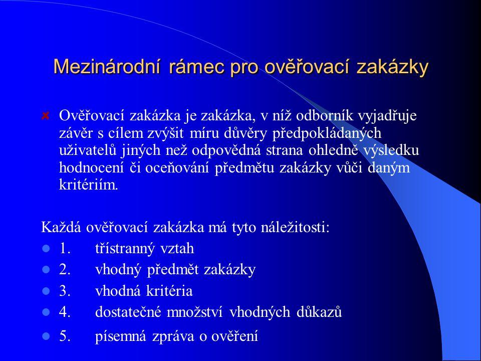 Mezinárodní rámec pro ověřovací zakázky