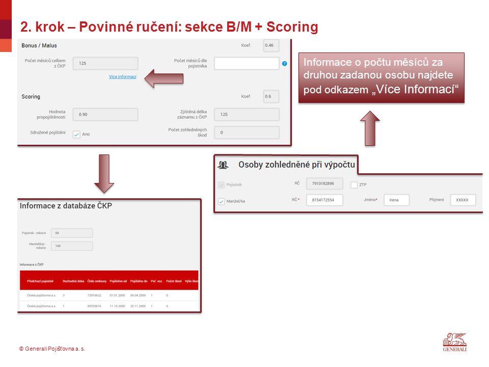 2. krok – Povinné ručení: sekce B/M + Scoring
