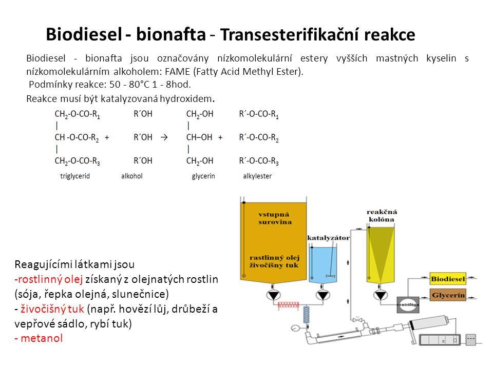 Biodiesel - bionafta - Transesterifikační reakce