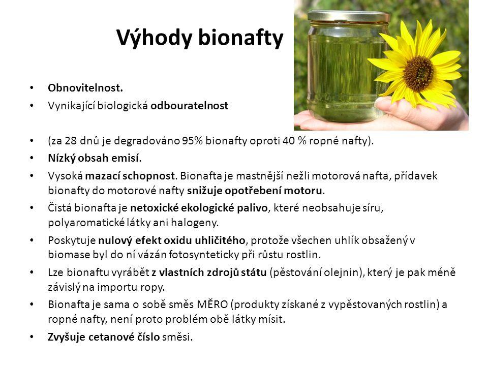 Výhody bionafty Obnovitelnost. Vynikající biologická odbouratelnost