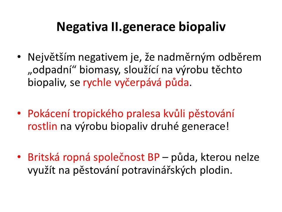 Negativa II.generace biopaliv