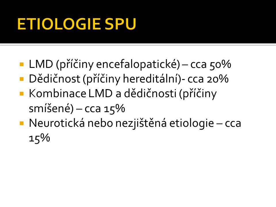 ETIOLOGIE SPU LMD (příčiny encefalopatické) – cca 50%