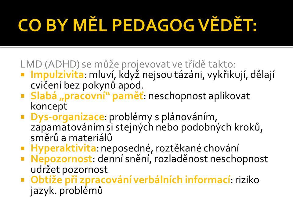 CO BY MĚL PEDAGOG VĚDĚT: