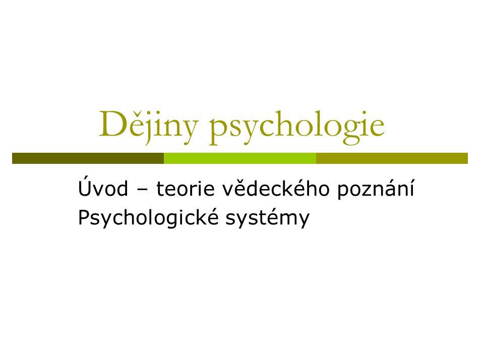 Úvod – teorie vědeckého poznání Psychologické systémy
