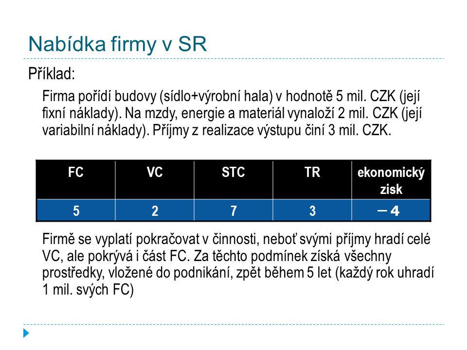 Nabídka firmy v SR Příklad: