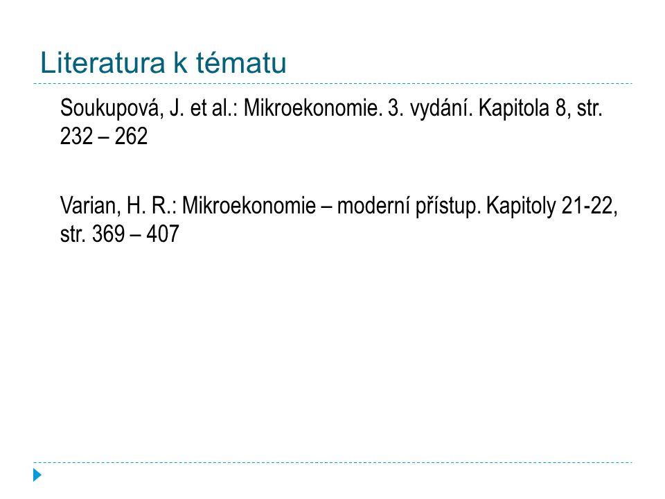 Literatura k tématu Soukupová, J. et al.: Mikroekonomie. 3. vydání. Kapitola 8, str. 232 – 262.