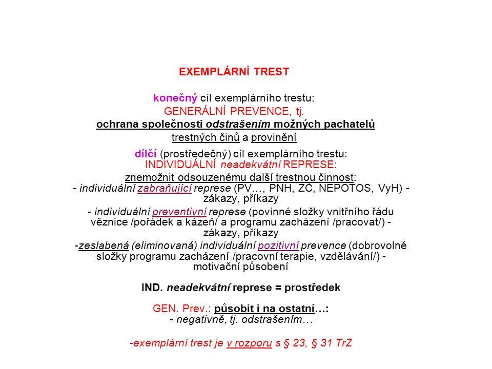 exemplární trest je v rozporu s § 23, § 31 TrZ