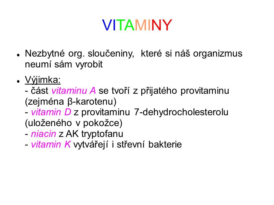 VITAMINY Nezbytné org. sloučeniny, které si náš organizmus neumí sám vyrobit.