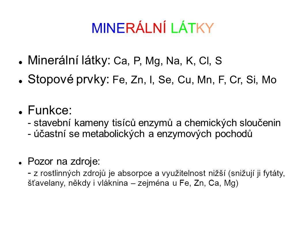 MINERÁLNÍ LÁTKY Minerální látky: Ca, P, Mg, Na, K, Cl, S