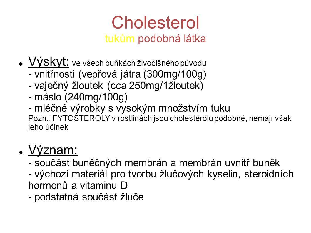 Cholesterol tukům podobná látka