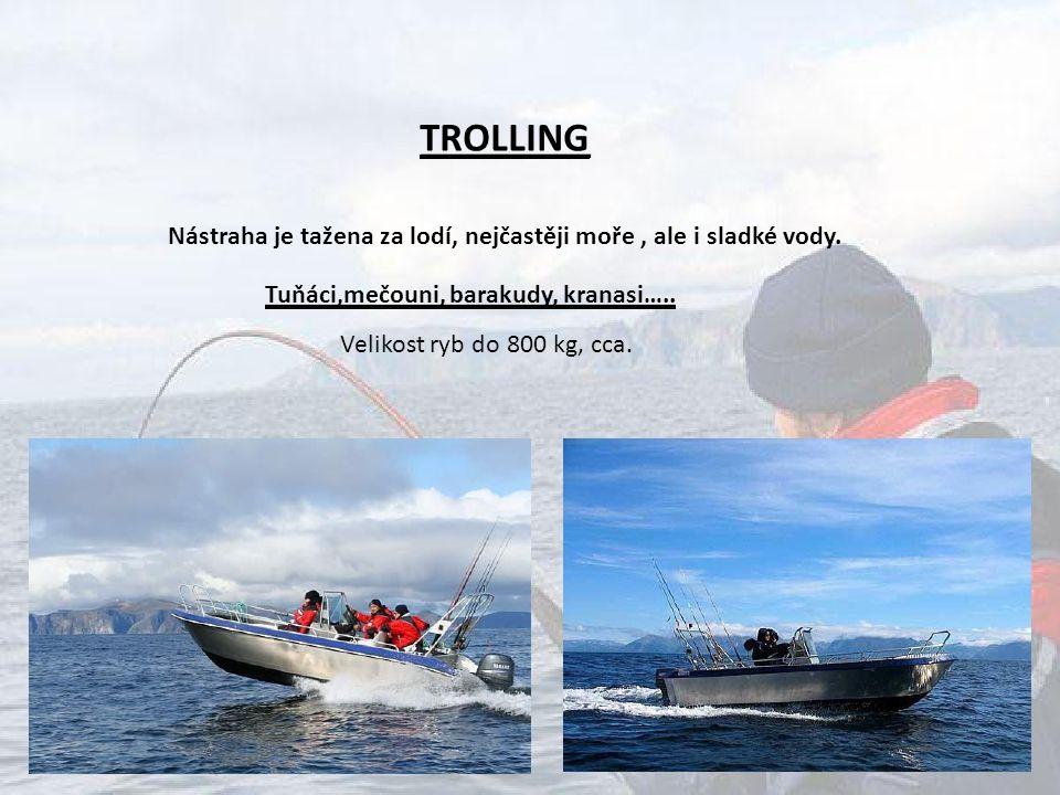 TROLLING Nástraha je tažena za lodí, nejčastěji moře , ale i sladké vody. Tuňáci,mečouni, barakudy, kranasi…..