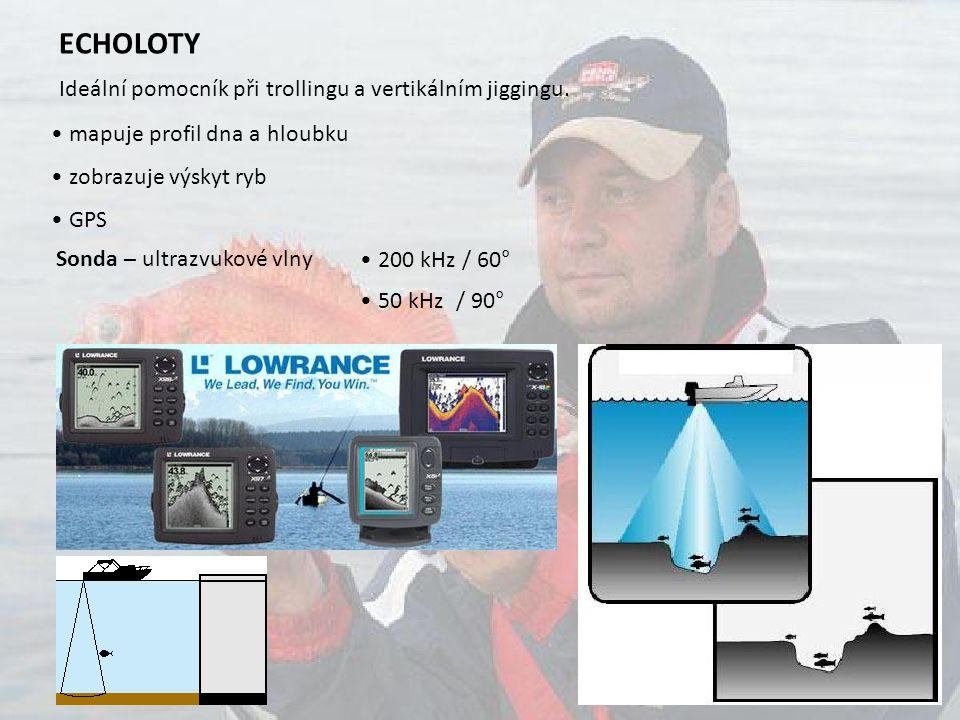 ECHOLOTY Ideální pomocník při trollingu a vertikálním jiggingu. • mapuje profil dna a hloubku. • zobrazuje výskyt ryb.