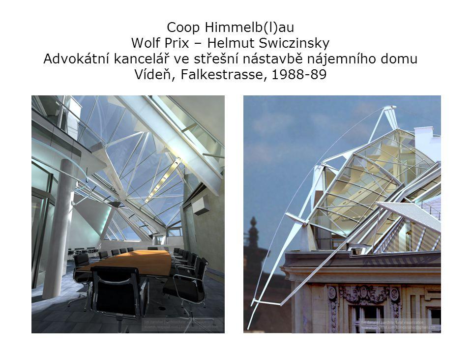 Coop Himmelb(l)au Wolf Prix – Helmut Swiczinsky Advokátní kancelář ve střešní nástavbě nájemního domu Vídeň, Falkestrasse, 1988-89