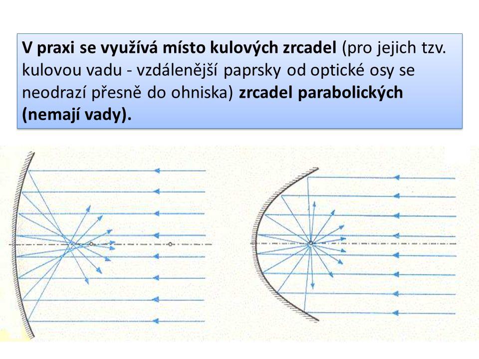 V praxi se využívá místo kulových zrcadel (pro jejich tzv