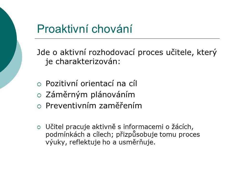 Proaktivní chování Jde o aktivní rozhodovací proces učitele, který je charakterizován: Pozitivní orientací na cíl.