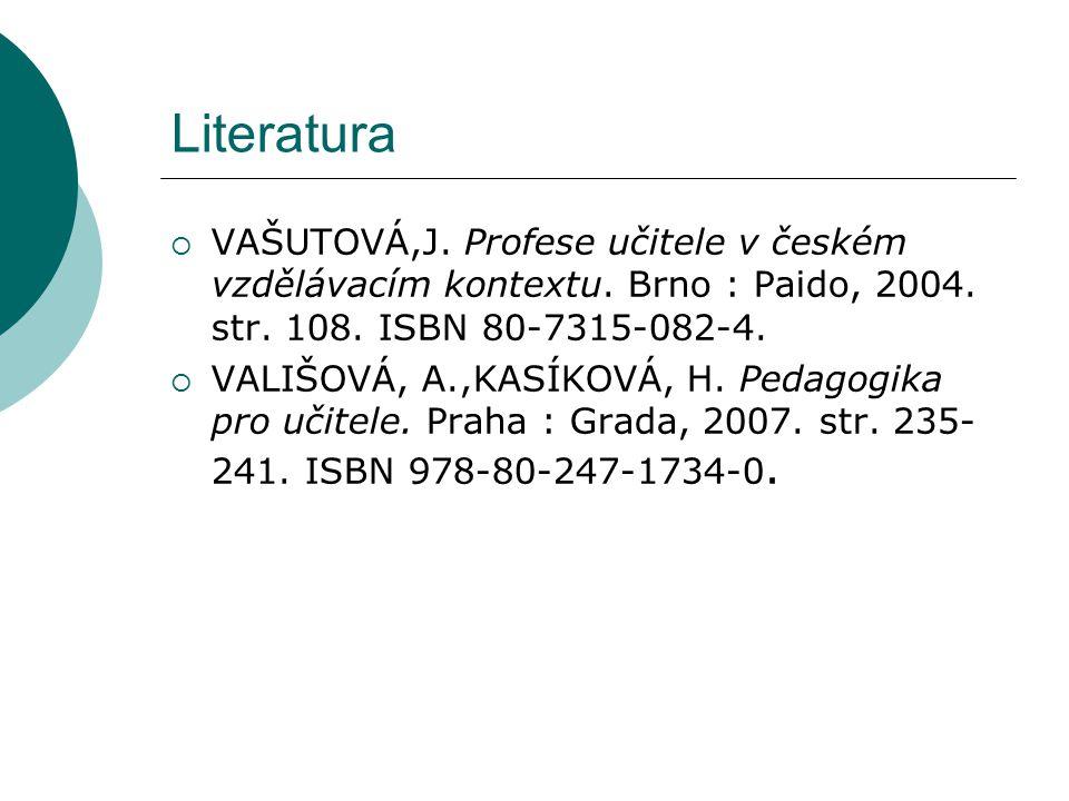 Literatura VAŠUTOVÁ,J. Profese učitele v českém vzdělávacím kontextu. Brno : Paido, 2004. str. 108. ISBN 80-7315-082-4.