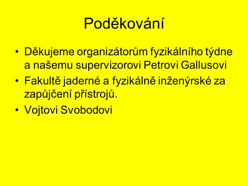 Poděkování Děkujeme organizátorům fyzikálního týdne a našemu supervizorovi Petrovi Gallusovi.