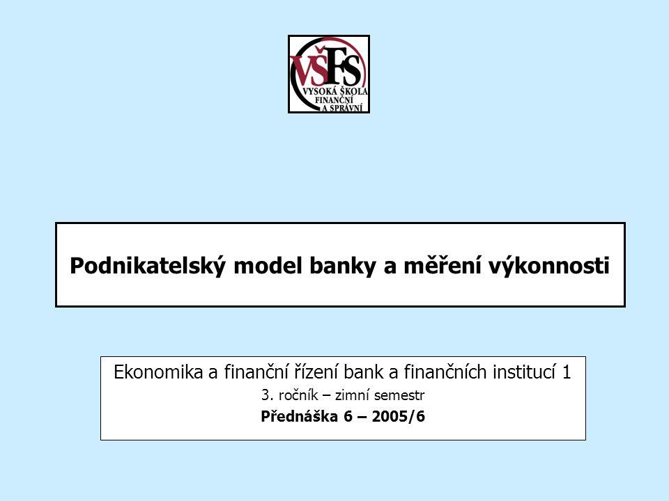 Podnikatelský model banky a měření výkonnosti