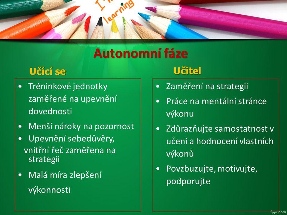 Autonomní fáze Učitel Učící se