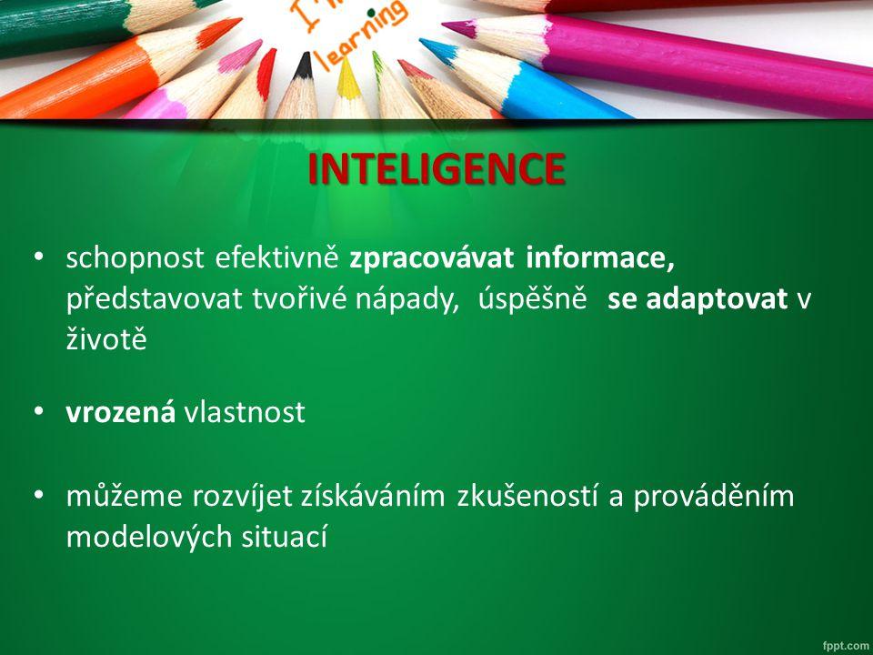 INTELIGENCE schopnost efektivně zpracovávat informace, představovat tvořivé nápady, úspěšně se adaptovat v životě.