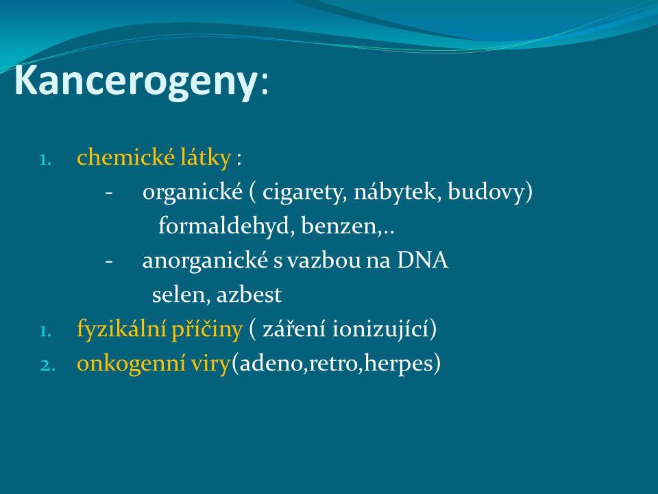 Kancerogeny: chemické látky : - organické ( cigarety, nábytek, budovy)