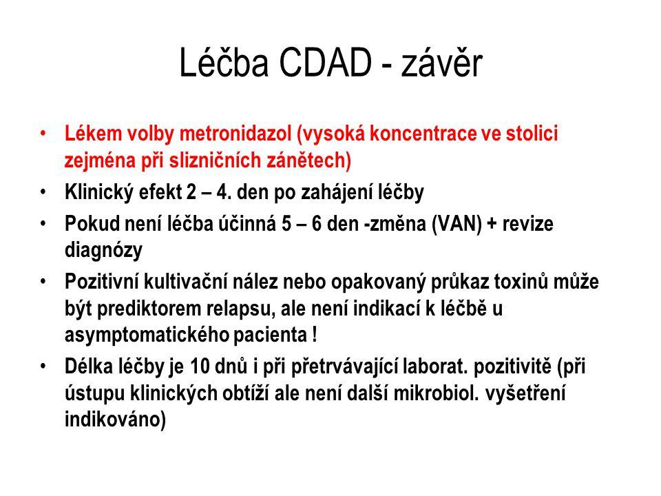 Léčba CDAD - závěr Lékem volby metronidazol (vysoká koncentrace ve stolici zejména při slizničních zánětech)