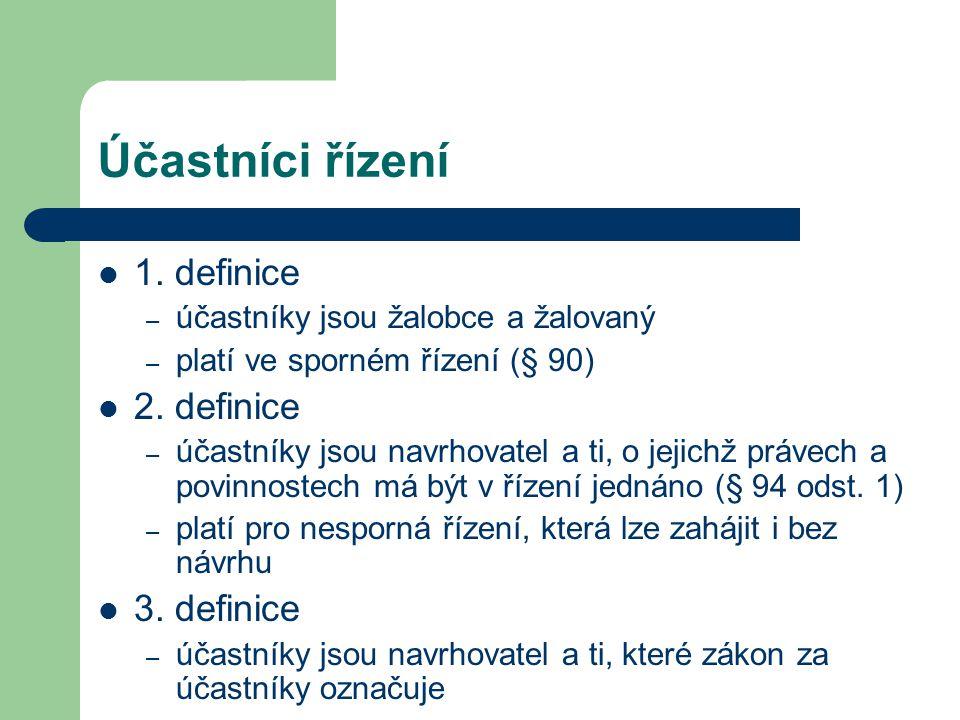 Účastníci řízení 1. definice 2. definice 3. definice