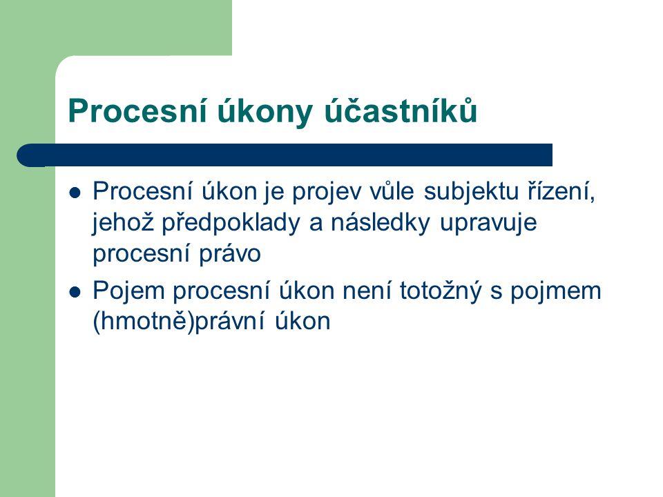 Procesní úkony účastníků