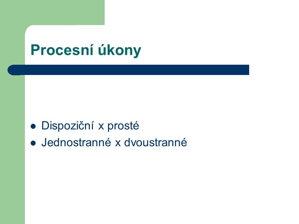 Procesní úkony Dispoziční x prosté Jednostranné x dvoustranné
