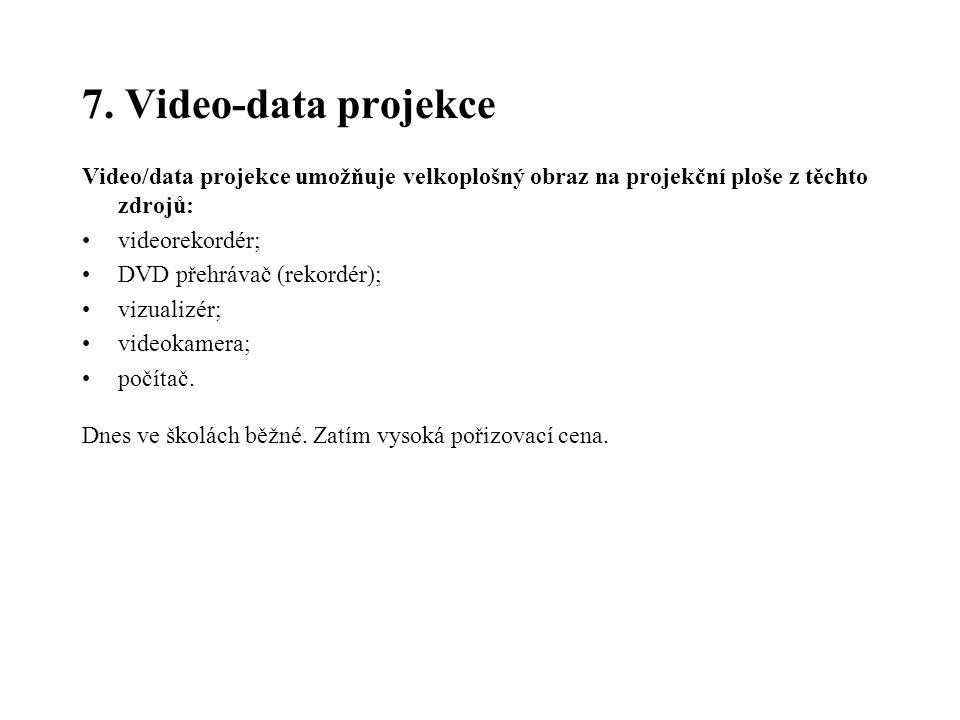7. Video-data projekce Video/data projekce umožňuje velkoplošný obraz na projekční ploše z těchto zdrojů: