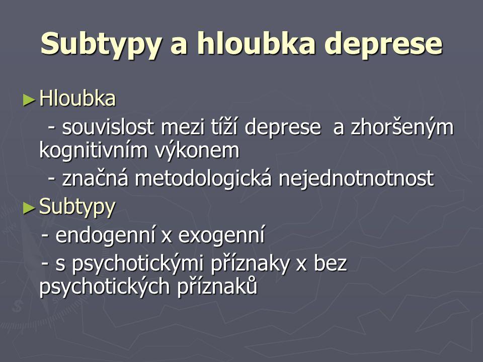 Subtypy a hloubka deprese