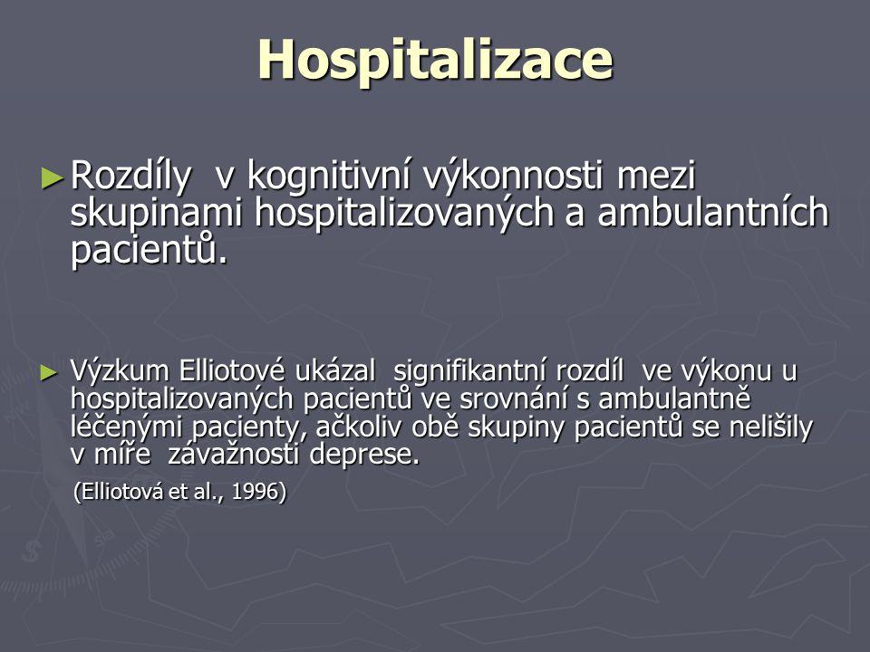 Hospitalizace Rozdíly v kognitivní výkonnosti mezi skupinami hospitalizovaných a ambulantních pacientů.