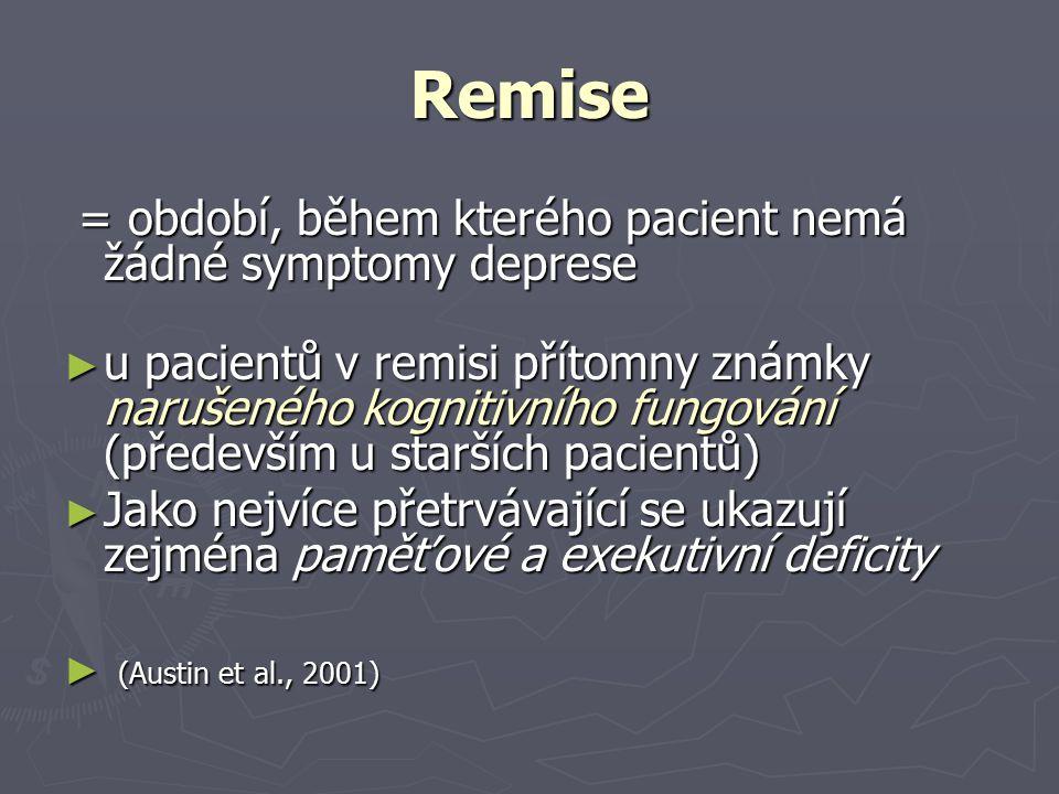 Remise = období, během kterého pacient nemá žádné symptomy deprese