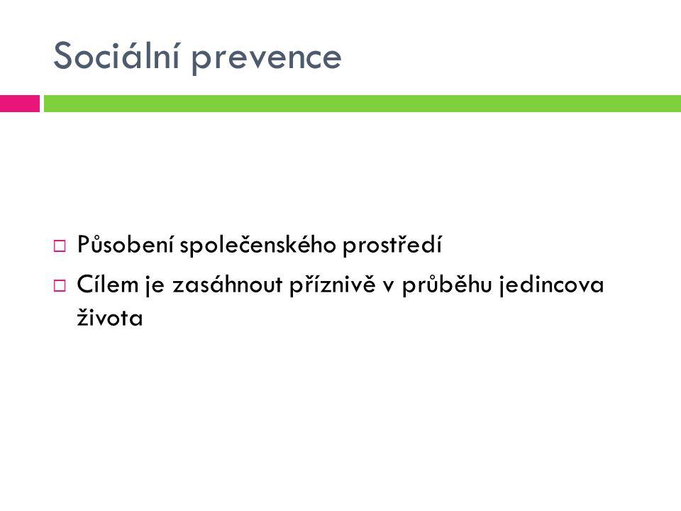 Sociální prevence Působení společenského prostředí