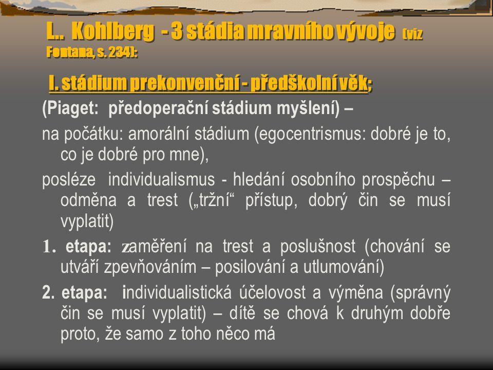 L. Kohlberg - 3 stádia mravního vývoje (viz Fontana, s. 234): I