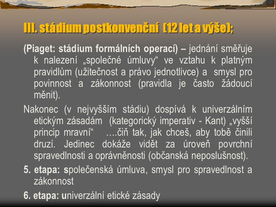 III. stádium postkonvenční (12 let a výše);