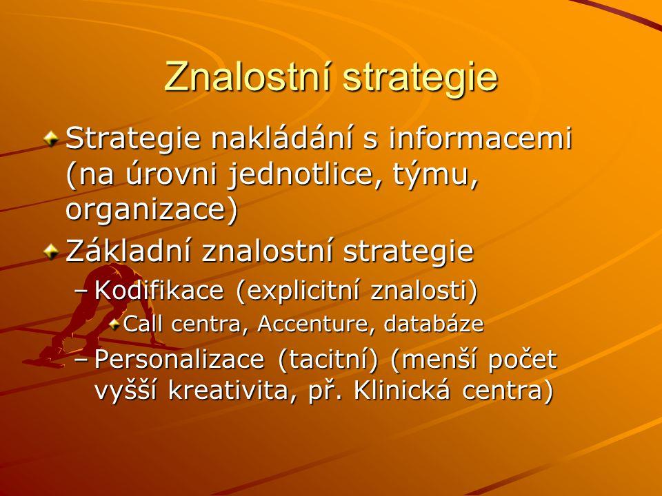 Znalostní strategie Strategie nakládání s informacemi (na úrovni jednotlice, týmu, organizace) Základní znalostní strategie.